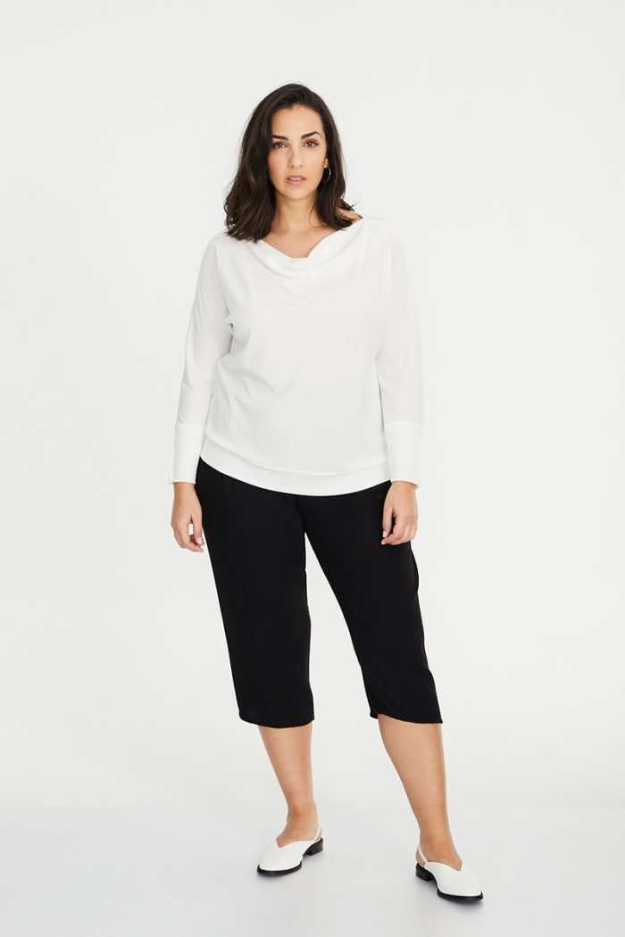 PLAIN KNIT DRAPED T-SHIRT