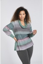 CONTRAST RIBBED KNIT SWEATER